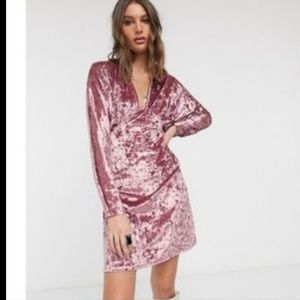 ASOS - Long sleeve Pink Crushed Velvet Dress 12